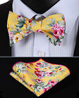 BMF401Y Yellow Green Pink Floral Men Cotton Self Bow Tie Pocket Square set