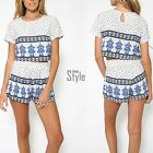 New Women Boho Print Two Piece Set O-Neck Short Sleeve Crop Tops + Shorts YA422