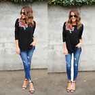 New Fashion Women Plus O-Neck Long Sleeve Embroidery Loose Pullover DZ8801