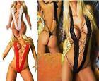 SEXY STRAPPY TEDDIE BODYSTOCKING THONG - LACE WITH RHINESTONE RINGS - SIZE 10-12