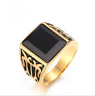 Men's Luxury Size 9-12 Huge Black Agate Stainless Steel Engagement Party Rings