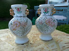 Rare - Vintage pair of Small Chinese pierced porcelain vases. - Signed