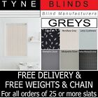 "**BARGAIN** From 99p Grey Charcoal 3.5"" Vertical blind SLATS LOUVRES"