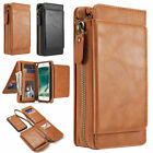 2in1 Magnetic Wallet Zipper Leather Case Flip Cover for iPhone X 8 6 6S 7 Plus