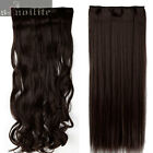 Extra Thick Clip in on Hair Extensions Black Brown One Piece Curly Straight sm9