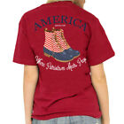 Southern Girl Prep America Duck Boots Short Sleeve T-shirt-Red