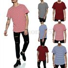 New Mens Casual Summer Crew Neck Striped Short Sleeve Long T Shirt Tee Tops