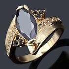 Ladies' Rare AAA Size 6,7,8,9 Black  Band 18K Classic Gold Filled Banquet Ring