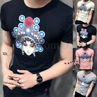 New Mens Casual Summer Short Sleeve Slim Fit Printing Crewneck T Shirt Top Shirt