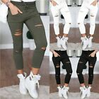 Women Skinny Hole Pants High Waist Casual Ladies Slim Pencil Trouser Leggings US