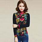 Black Charming Chinese Style Tops Women's Linen Cotton T-shirt Blouse Frog Slim