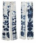 Womens Vintage Bootleg Jeans Flare Denim Pants Ladies Tie Dye Trouser