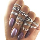 11pcs Women Knuckle Midi Mid Finger Tip Stacking Ring Punk Nail Accessories Gold