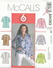 McCalls M4383 Misses Shirts & Top Sewing Pattern ~ Size 8 10 12 14