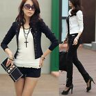 Fashion Women Ladies  OL Blazer Long Sleeve Rivet Outwear Suit Short Jacket Coat