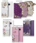 3D Bling Flip Leather Wallet Phone Cover Cases with Diamonds for Girls& Women