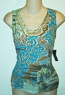 Cable & Gauge NWT  Petites Casual Beaded Print Tank Top