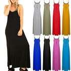 Womens Ladies Casual Swing Skater Strappy Necklace Chain Trim Flared Maxi Dress