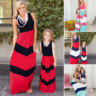 Mother Daughter Summer Family Sleeveless Stripe A-Line Ankle-Length Maxi Dress