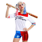 Womens Kids Suicide Squad Harley Quinn Top Shorts Halloween Costume Fancy Dress