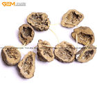 3Pcs 30x45mm Natural Stone Druzy Geode Quartz Crude Raw Beads For Jewelry Making