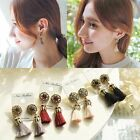 Vintage Women Rhinestones Crystal Tassel Dangle Stud Earrings Chic Boho Jewelry
