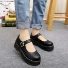 Retro Mary Janes Women's T-Strap Platform Creeper Wedge Heels Round Toe Shoes