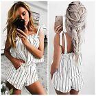 Hot Summer Holiday White Striped Shorts Playsuit Beach Casual Backless Jumpsuit