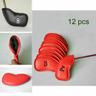 12pcs x PU Leather Golf Club head Wedge Iron Covers Black Headcover Putter Cover