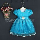 NEW Toddle Kid Flower Girl Birthday Party Fancy Dress Blue SZ 12M - 2 Years Z464