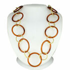 """Brown Resin 14K Yellow Gold Over 48"""" Strand Circle Nacklace"""