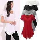 Women Irregular Swing Hem Short Sleeve Flared Tunic Loose Top Plus T-Shirt Tee