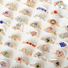 5/10/20/30pcs Wholesale Mixed Lots Crystal Jewelry Resale Women's Band Rings