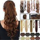 Women Lady Clip On Ponytail Long Straight Curly 10% Human Hair Extensions 1Pcs
