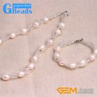 Freshwater Pearl Beads Hand Knitting Tennis Bracelet Necklace Jewelry Set Gift