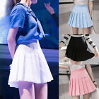 Women Lady High Waist Plain Skater Flared Pleated Short Mini Skirt Shorts Skirts
