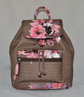 GUESS by Marciano Ashville Logo Flowers Backpack Bag Sac Purse Brown New