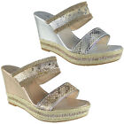 New Womens Ladies Diamante Espadrilles High Wedge Heel Party Sandals Shoes Size