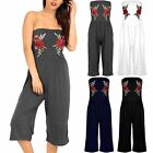 Women Boobtube Rose Embroidery Palazzo Pants Floral Playsuit Jumpsuit All in One