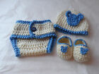 BABY. GIRL.BOY.CROCHET SET.0/2 MONTH.DIAPER COVER.. HAT.SHOES.BABY SHOWER.