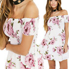 Women's Summer Off Shoulder Floral Short Beach Evening Party Cocktail Mini Dress
