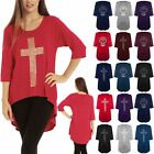 Womens Ladies Stud Skull Cross 3/4 Sleeve Dip Hem High Low Tunic Top Plus Size