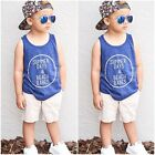 2pcs Toddler Kids Baby Boy Blue T-shirt Tops+White Pants Summer Outfits Fashion