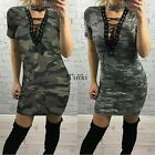 Women Choker V Neck Casual Loose Tops T-Shirt Lace-up Plunge Mini Dress TXWD