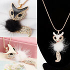 Betsey Johnson Crystal Lovely Plush Fox Pendant Sweater Chain Necklace for Gift