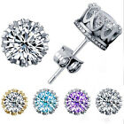 Women 925 Silver Plated 8MM Crown Stud Earrings Round Crystal Cubic Zirconia