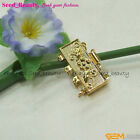 gp0541 15mmx25mm 4 Strands Rectangle Gold Plated Clasp Carve Flower Fittings