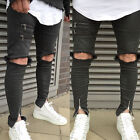 Mens Skinny Stretch Punk Rock Retro Gothic Trousers Bike Pants Zip & Rip Jeans