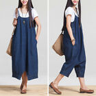 Women's Denim Overalls Casual Jumpsuit Dress Harem Romper Jeans Plus size S-L