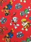 PAW PATROL toss on red : 100% LICENSED cotton  :  by the 1/2 metre